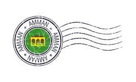 Amman city grunge postal stamp. And flag on white background vector illustration