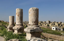 Amman city landmarks-- old roman Citadel Hill,  Jordan Royalty Free Stock Photography