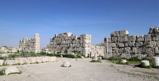 Amman city landmarks-- old roman Citadel Hill,  Jordan Royalty Free Stock Photo