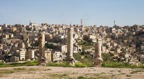 Amman city landmarks-- old roman Citadel Hill,  Jordan Royalty Free Stock Images