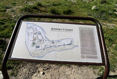 Amman city landmarks-- old roman Citadel Hill (Site plan legend), Jordan Stock Photography