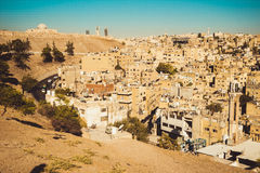 Amman city view with Umayyad Palace on background. Urban landscape. Residential area. Arabic architecture. Eastern city. Housing e Royalty Free Stock Image