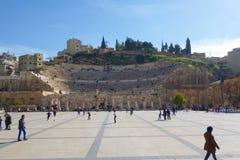 Amman, Jordânia - Roman Amphitheater, Médio Oriente foto de stock