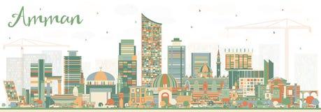 Amman Jordan City Skyline avec des bâtiments de couleur Images libres de droits