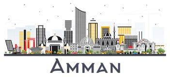 Amman Jordan City Skyline avec des bâtiments de couleur d'isolement sur le blanc Photographie stock libre de droits