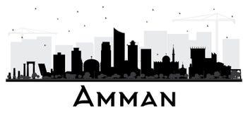 Amman Jordan City Skyline Black e siluetta bianca Fotografie Stock Libere da Diritti