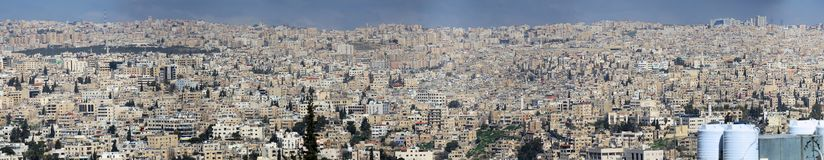 Amman, Jordan, March 11h 2018: High resolution panoramic view from the not very nice development of Amman, the capital of the King. High resolution panoramic Royalty Free Stock Images