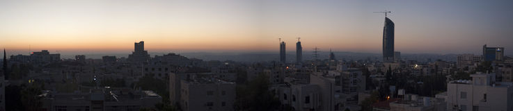 Amman, Jordan, Middle East. Jordan, 02/10/2013: panoramic view of the skyline of Amman, the capital and most populous city of the Hashemite Kingdom of Jordan royalty free stock photo