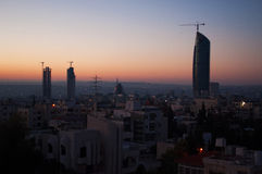 Amman, Jordan, Middle East. Jordan, 02/10/2013: panoramic view of the skyline of Amman, the capital and most populous city of the Hashemite Kingdom of Jordan royalty free stock images