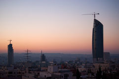Amman, Jordan, Middle East. Jordan, 02/10/2013: panoramic view of the skyline of Amman, the capital and most populous city of the Hashemite Kingdom of Jordan royalty free stock image