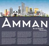 Amman Jordan Skyline avec les bâtiments de couleur, le ciel bleu et la station thermale de copie illustration libre de droits