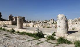 Amman miasta punkty zwrotni-- stary rzymski cytadeli wzgórze, Jordania obrazy stock