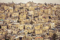 Amman old town. Amman, Jordan, view of the old city, a large complex of decaying buildings overlooking the citadel located on Jabal Al Qal`a stock photography