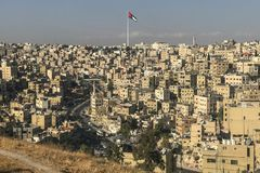 Amman stad Hoogtevlag jordanië royalty-vrije stock foto