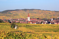 Ammerschwihr in the vineyard of Alsace Stock Image