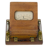 Ammeter. Old ammeter, wooden box, with side fuses. Isolated on white Royalty Free Stock Photo