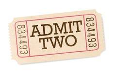Ammetta un biglietto di due film isolato su fondo bianco fotografie stock