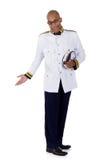 Amministratore della nave da crociera dell'afroamericano, saluto fotografie stock