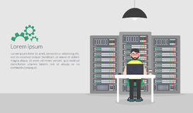 Amministratore di sistema Illustrazione di vettore nello stile piano Descrizioni di sostegno di manutenzione del server di tecnol Fotografie Stock Libere da Diritti