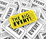 Ammissione speciale Access del grande biglietto giallo dorato di evento Immagine Stock