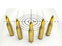 Ammo. Ammunition, white round target for shooting range stock illustration