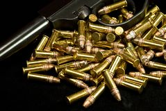 Ammo 2. A shot of a old army pistol and ammo Stock Images