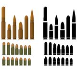 Ammo. Ammunition for various types of small arms. The illustration on a white background vector illustration