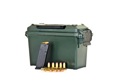 Ammo Box. With  Loaded High Capacity Handgun Magazine and Bullets Royalty Free Stock Photos