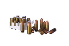 Ammo bullets on white Stock Images