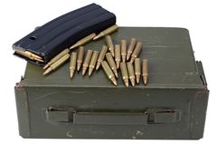 Ammo can with ammunition. Isolated stock image