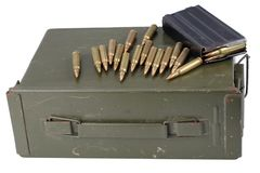 Ammo can with ammunition. Isolated royalty free stock photography