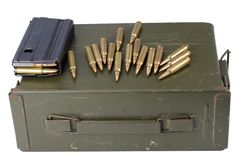 Ammo can with ammunition. Isolated royalty free stock images