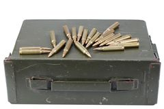 Ammo can with ammunition. Isolated on white royalty free stock image