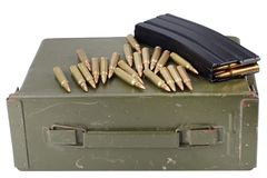 Ammo can with ammunition. Isolated on white stock images