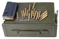 Ammo can with ammunition. Isolated on white stock image