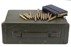 Ammo can with ammunition. Isolated on white stock photos