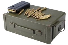 Ammo can with ammunition. Isolated on white royalty free stock photos