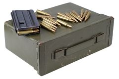 Ammo can with ammunition. Isolated on white royalty free stock photo