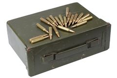 Ammo can with ammunition. Isolated on white royalty free stock images