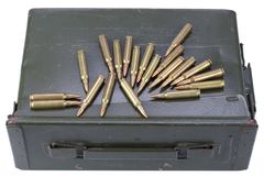 Ammo can with ammunition. Isolated on white stock photography
