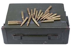 Ammo can with ammunition. Isolated stock photos
