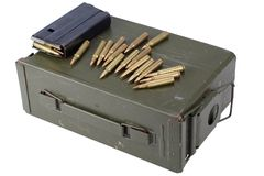 Ammo can with ammunition. Isolated royalty free stock photo