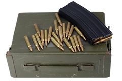 Ammo can with ammunition. Isolated stock photo