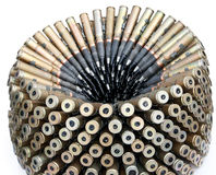 Ammo cartridge. Pile of bullets laid around Stock Photos