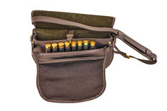 Ammo cartridge pouch, isolated, top view. Ammo cartridge pouch, isolated. Brown color Stock Images