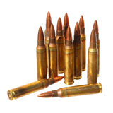 Ammo. Cartridges (Submachine gun cartridges) isolated on a white background Stock Images