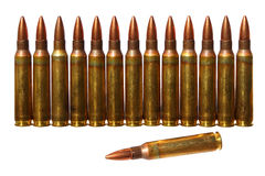 Ammo. Cartridges (Submachine gun cartridges) isolated on a white background Stock Photo