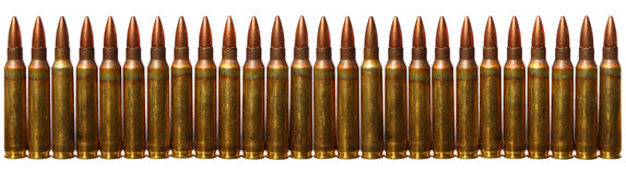 Ammo. Cartridges (Submachine gun cartridges) isolated on a white background Royalty Free Stock Photography