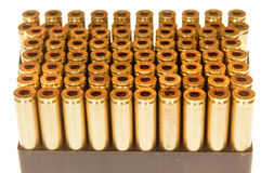 Ammo cases. Empty 30-06 ammunition cases ready for reloading Stock Photos