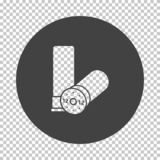 Ammo from hunting gun icon. Subtract stencil design on tranparency grid. Vector illustration stock illustration